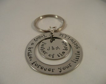 Father of the bride keyring, personalised, washer, wedding day, favour