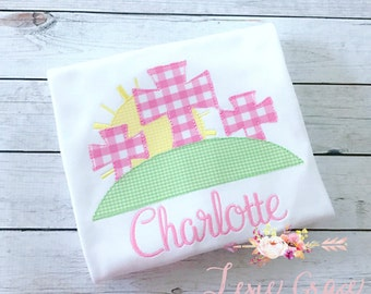 Cross Trio Easter Monogrammed Shirt for girls -Embroidered, Personalized, Baby, applique, gingham