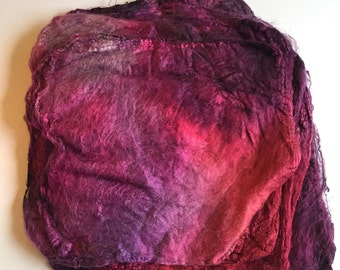 Hand Dyed Silk Fiber Mawata Silk Hankies for Felting, Spinning, Knitting. PINK, MAUVE and PURPLE, Silk, Fiber, Handdyed, Fiber Art Supplies