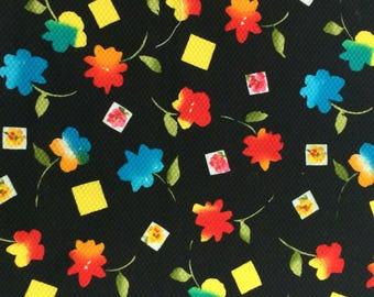 Cotton Fabric / Cotton Pique /  Black Cotton Fabric / Floral Pique Cotton Fabric / Cotton Fabric / Pique Fabric