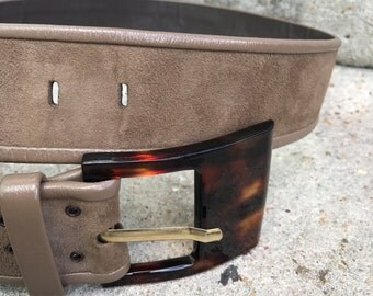 80s vintage leather, suede and lucite belt