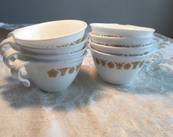 Valentine Sale Vintage Corelle White Teacups in Butterfly Gold /  Corning Ware Glassware with Golden Butterflies