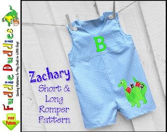 Zachary Baby Boys Romper Pattern, Jon Jon Pattern. Baby Pants Pattern pdf. Boys Sewing Pattern. Toddler Pattern. Short, Long Romper Pattern.