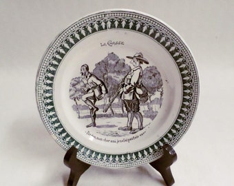 French Antique Saint Amand Black Transferware Plate Hunting c1880 (v703)