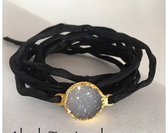 Charcoal 18K Gold Plated Dipped Druzy Quartz Agate Connector on Silver Rolled Silk Wrap Bracelet/Choker