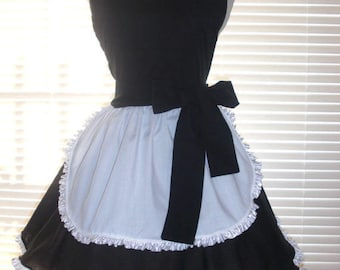 PLUS SIZE French Apron, Retro Black and White French Maid Apron, Frilly Apron, Wide Circular Skirt