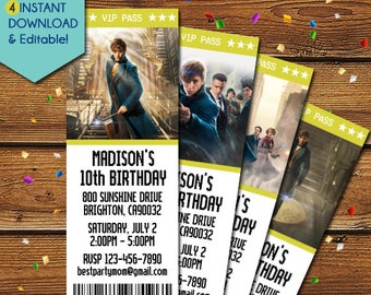 Fantastic Beasts Invitations, Fantastic Beasts Party Invitation, Fantastic Beasts Birthday Invitation, Fantastic Beasts Invite, Movie