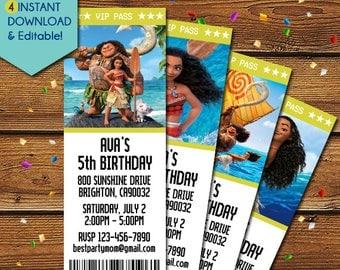 Moana Invitations, Moana Ticket Invitations, Moana Birthday Invitation, Moana Party Invitation, Moana Party Invite, Moana Invite, Disney