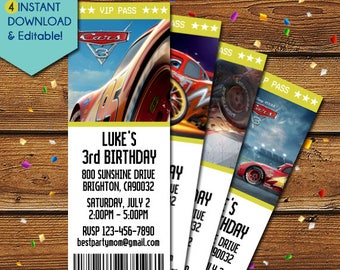 Disney Cars 3 Invitation, Disney Cars Invitation, Disney Cars 3 Birthday Invitation, Disney Cars 3 Movie, Disney Cars 3 Party Invite