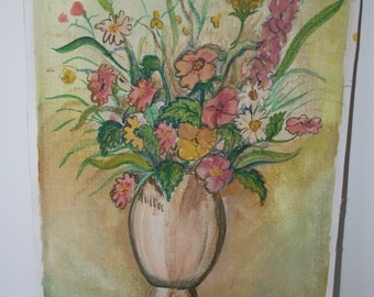 1970's Floral Paintings Art Vintage Paintings Pretty Flowers in a Vase 10x14