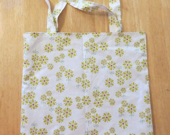 Cotton Grocery Tote, Green Flowers
