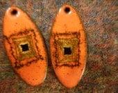 Pendants, Two, Jewelry Supply, Enamel, Vintage, Modernist, Mid-Century, Supply, Orange, Black, Abstract