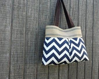 Navy Blue and White Chevron Zig Zag Pleated Handbag Purse Tote Bag with Jute Webbing