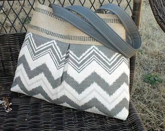 Gray and Cream Zazzle Chevron Pleated Handbag Purse Tote Bag with Jute Webbing