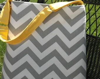 Grey and Sunny Yellow Handbag Shoulder Bag Tote