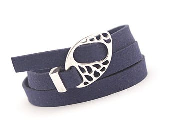 Men's Navy Blue Wrap Boho Bracelet, Minimalist Bracelet, Hipster Jewelry, brown suede bracelet, Multistrand Leather, gift for him