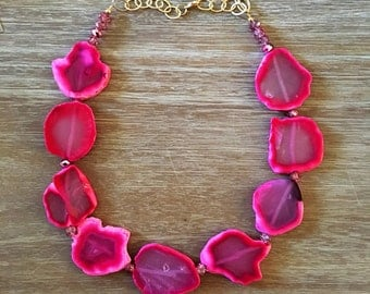 Statement Necklace Bridesmaid Jewelry THE JET SETTER in Neon Pink Necklace  Wedding Jewelry Statement Jewlery Mint Necklace Bib Necklace