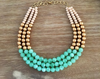 Champagne, Bright Mint and Gold Crystal Statement Necklace One•Of•A•Kind