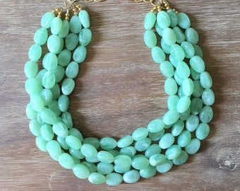 Statement Necklace Bridesmaid Jewelry JACKIE O SEAFOAM  Wedding Jewelry Statement Jewlery Green Necklace Emerald Pantone Color 2017