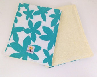 Baby Burp Cloth Set of 2 Emerald Flower