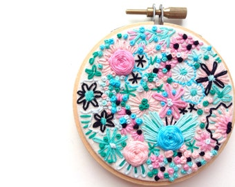 CUPCAKES MERMAIDS TATTOOS, Embroidery Hoop Textile Art Piece, Floral Wall Art, Teal, Black, Pink, Green