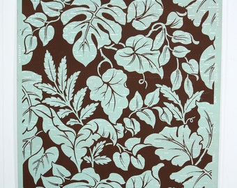 REMNANT of Vintage Wallpaper, Single 38 Inch Piece - Segment of Botanical Wallpaper with Teal Leaves on Brown