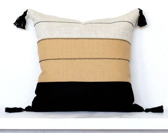Tribal Colorblock Stripe Pillow Cover with Stitching and Tassels-  Black Combo