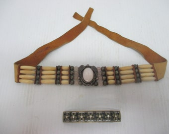 Vintage Native American Bone, Leather & Sterling Choker Necklace and Vintage Barrette