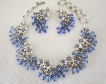 Vintage floral demi parure dangling blue crystal beads and white ceramic flowers