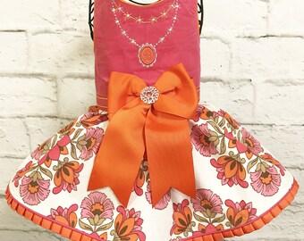WINTER:  Corduroy Floral Dog Dress