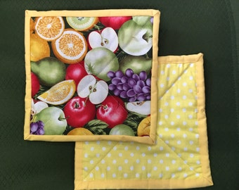 Apples and more Country Pot Holders, Machine Quilted