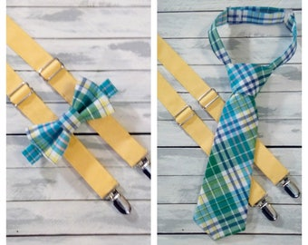 Blue, Green, Yellow Plaid Bow Tie or Necktie and Yellow Suspenders- Boys, Baby, Toddler Suspenders and Bowtie -Ring Bearer Suspender and Tie