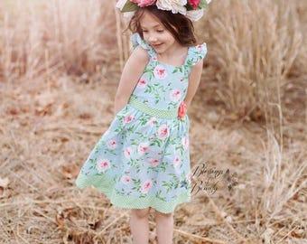 Girls Spring Floral Dress - Toddler Spring Floral Dress - Baby Spring Floral Dress