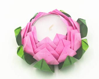 Flowers origami water lily led tealight candle holders paper flower - Origami Candles Etsy