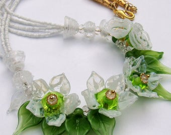 Lampwork Floral Necklace, Handmade Glass Romantic Necklace With Delicate White-Green Flowers, Made to Order