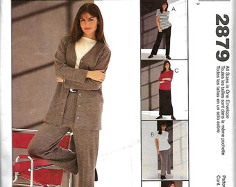 McCall's 2879 Sewing With Nancy Misses/ Miss Petite Jacket, Top, Pull-On Pants And Skirt Pattern, Size 8-22, UNCUT