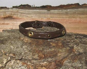Leather Stamped Bracelet, Interesting Designs, Gold Brad, One of a Kind