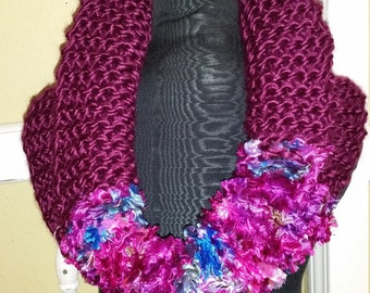 Hand Knit Ribbon Cowl, Ribbon Cowl, Purple Cowl, Infinity Scarf, Hand Knit Cowl