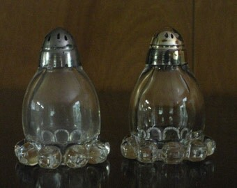 Vintage Set of Glass Salt and Pepper Shakers, Tableware