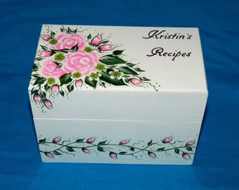 Guest Book Box Shabby Chic Wedding Advice Card Holder Personalized Wood Recipe Box Hand Painted Custom Pink Roses Wedding Bridal Shower Gift
