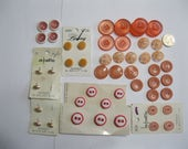 That's Just Peachy, button lot of peach toned buttons, 52 buttons total, 3 to 9 buttons of each style, some on original cards, incl vintage