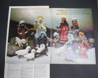 """Crochet Pattern for Christmas Creche, four original pages from 1974, Volume 17, McCall's Christmas Make-It Ideas, directions for 7"""" figures"""