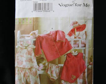 Size 1 - 4, Vogue for Me 8060, Toddler jacket, top, dress, panties, pants and hat, 2005, easy sewing rating, partially cut, complete, cute