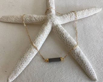 Bezeled, Bar, Stone, Gold, Delicate Necklace
