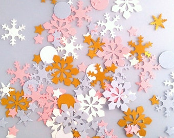 Pink and Gold Winter Confetti - Snowflake Confetti - Winter Wedding Table Confetti - Christmas Confetti - Christmas Table -Eco-friendly