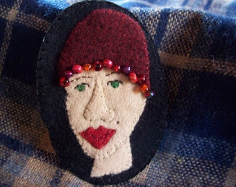 Crazy Hat Lady 1920's Flapper Hat Brooch Felt Pin