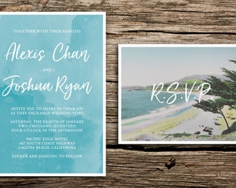 Laguna Beach Wedding Invitations // Windswept Cover Wedding Invitation  Modern Beach Wedding Invitations California Coastal