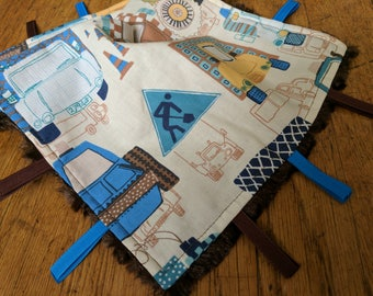 Baby Tag Blanket - Trucks - Construction - Brown White Blue - Baby Boy - Ready to Ship