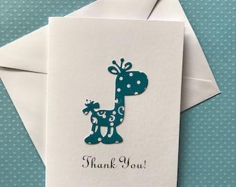 Giraffe Card, Thank You  Cards, Baby Shower Thank You Cards,  Baby Boy Girl Thank You Cards, Blue & White Polka Dot Giraffe Cards