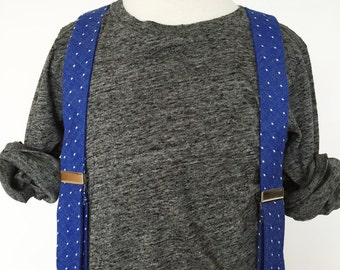 Blue Dot Chambray Suspenders